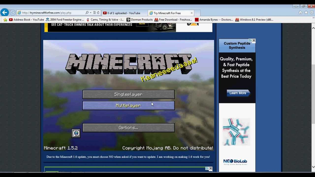 i want to play minecraft for free no download