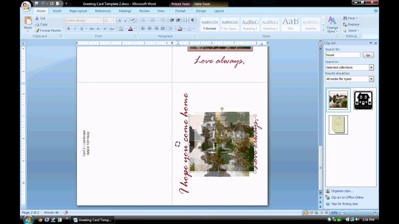 Ms Word Tutorial Part 2 Greeting Card Template Inserting And