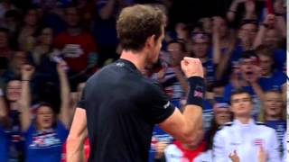Andy Murray takes the first set against David Goffin
