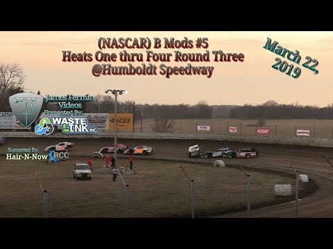 (NASCAR) B Mods #5, Heats 1-4 Round 3, Kings of the Ring, Humboldt Speedway, 03/22/19