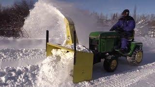 John Deere 322 w/ Model 47 Snowblowing Action!