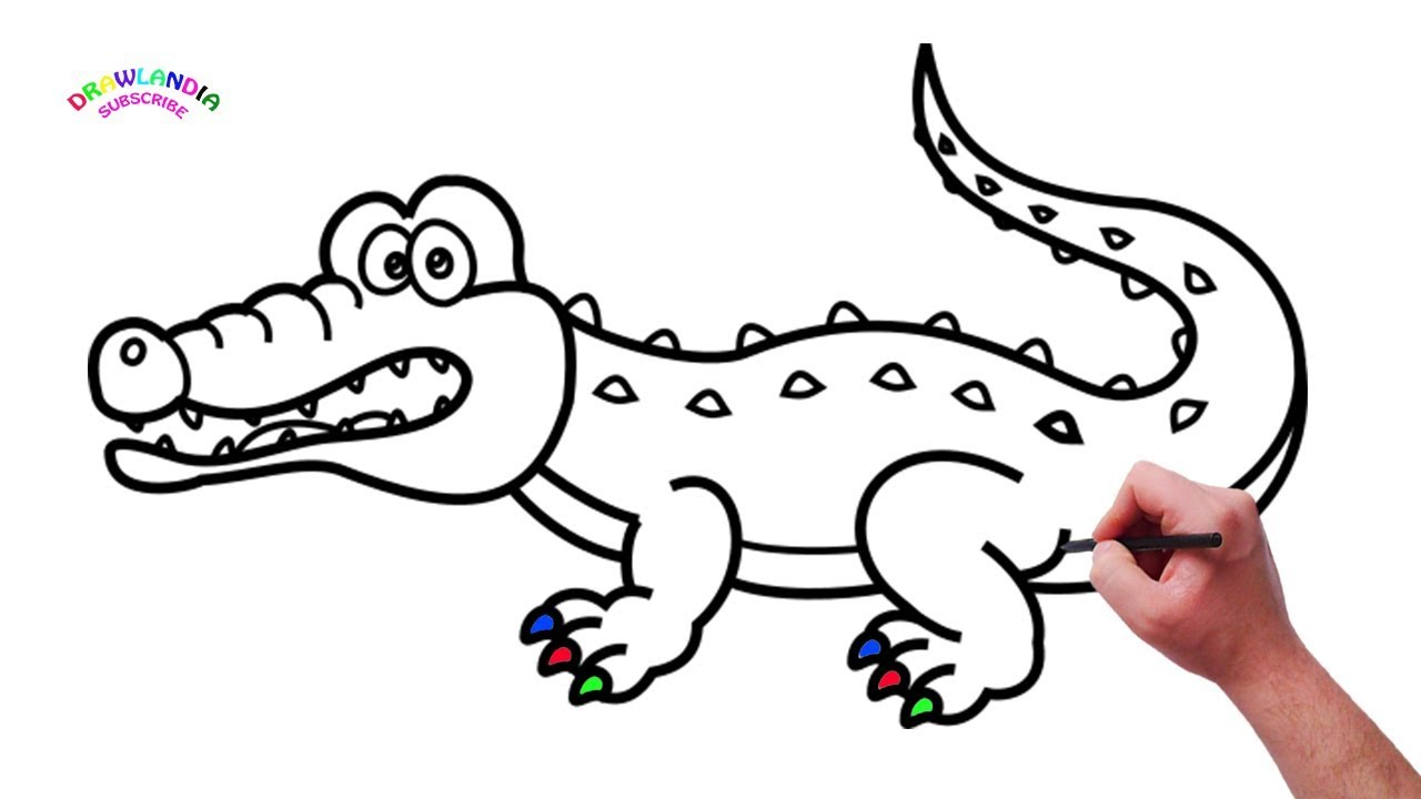 How to draw Crocodile - Drawing and Coloring for Kids ...