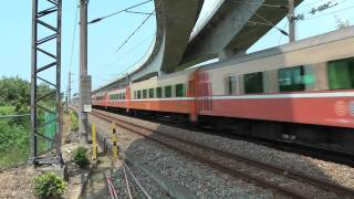 [HD] The Taiwan TRA train haul by GE E42C E200 E234 pass the Qiuchang Road level crossing