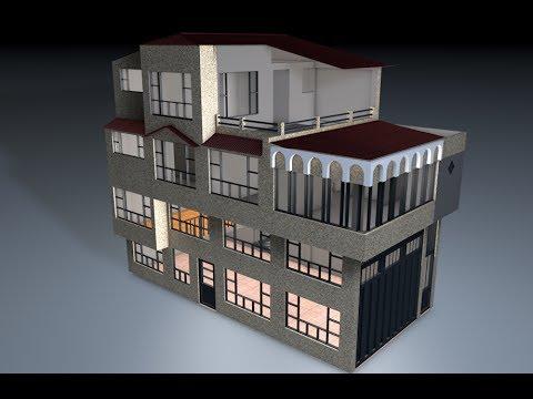Modelado casa cinema4d r13 house c4d 01 youtube for Simulador de casas 3d gratis