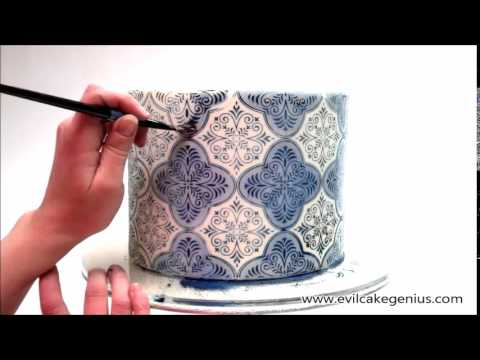 Spanish Tile Cake Stencil Set Youtube