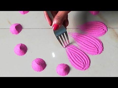 Very easy and quick rangoli using bangles and fork | Easy rangoli designs by Sangeeta - thumbnail
