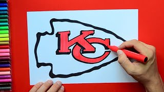How to draw and color the Kansas City Chiefs logo - NFL Team Series