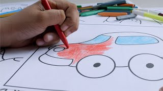 A child colouring the picture of the car in his drawing book sheet