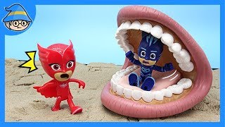 Pajamas masks! A huge mouth is eating a PJ MASKS catboy!