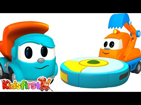 Leo the Truck. 3D cartoon and Animated series. Vacuum cleaner. Construction cartoon.