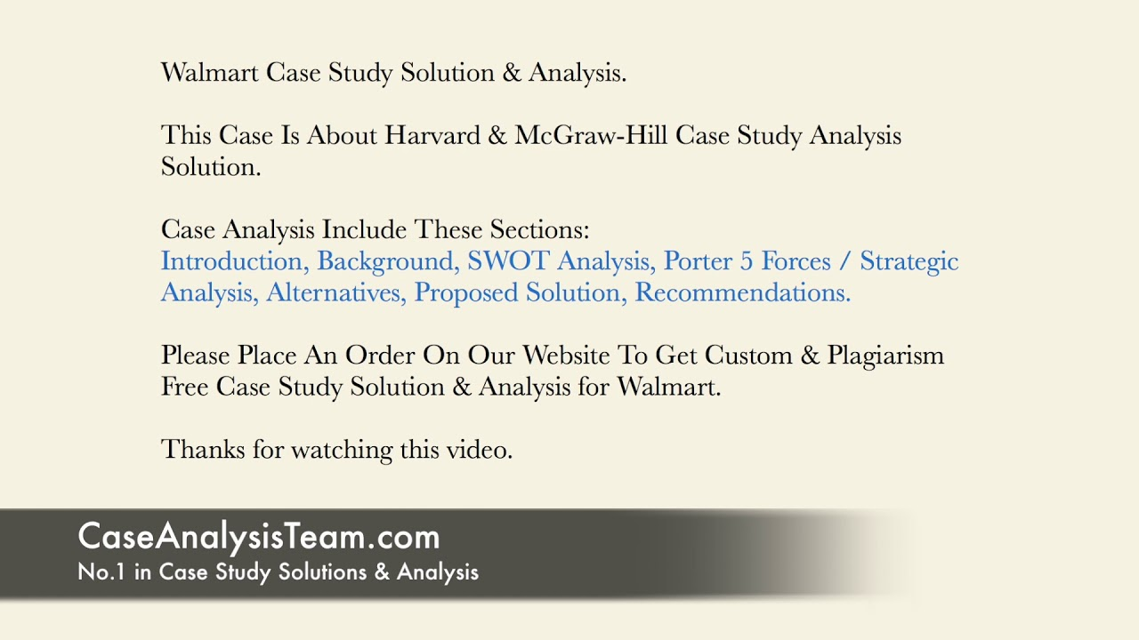 Walmart Case Study Solution & Analysis