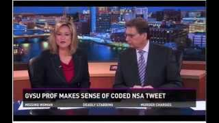 WZZM 13 Grand Valley University professor shows how to crack NSA cipher tweet