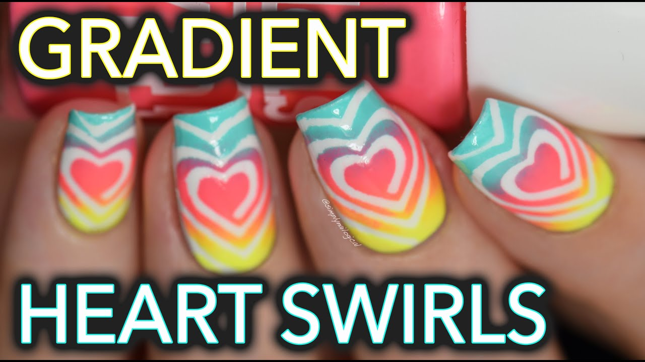 Easy neon heart swirl gradient nail art - YouTube