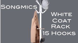 Songmics 15 Hooks White Coat Rack Stand URCR17W