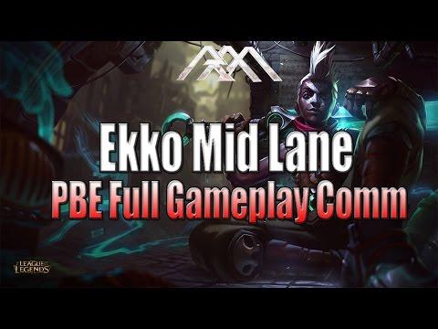 Ekko Mid Lane - PBE Full Gameplay - League of Legends