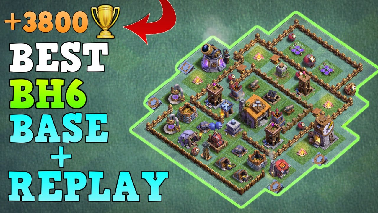 Best builder hall 6 base bh6 builder base wreplay coc Best builder house 4 base