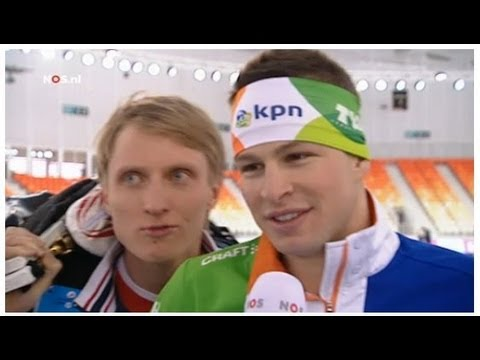 Ivan Skobrev interrups Sven Kramer interview at WC Distances in Sochi 2013