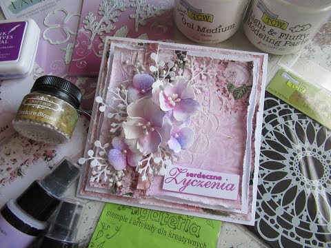 ♡Layered Mixed Media card with handmade flowers ♡ #TCW #LadyE #Lindysgang #CraftBox #Agateria