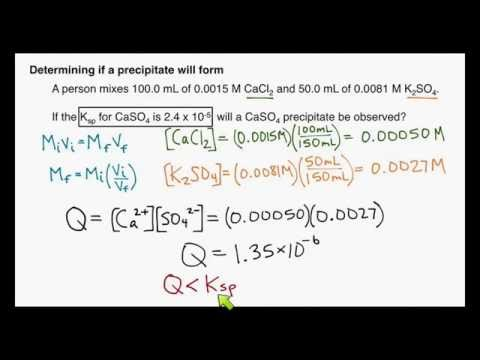 Example: Determining Whether a Precipitate Will Form (Solubility Equilibrium #3)