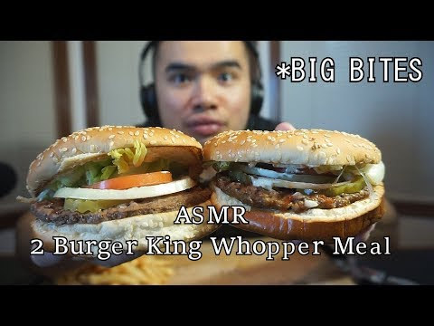 Asmr 2 BURGER KING WHOPPER MEALS * BIG BITES *EXTREME EATING SOUNDS *NO TALKING