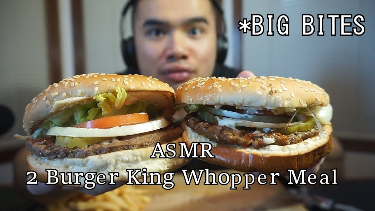 Asmr 2 Burger King Whopper Meals Big Bites Extreme Eating Sounds No Talking