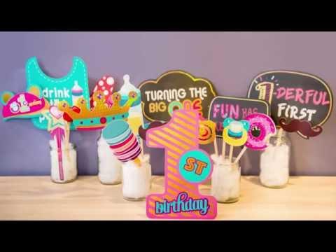 Glittery Garden 1st Birthday Photo Booth Props Diy Instructions Youtube