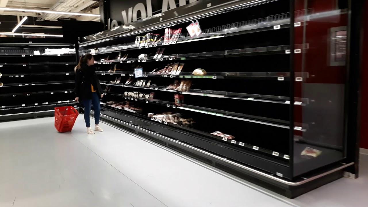 #Люксембург, #Lëtzebuerg,#Luxembourg,#Luxemburg. Коронавирус в Европе. Пустые полки в магазине.