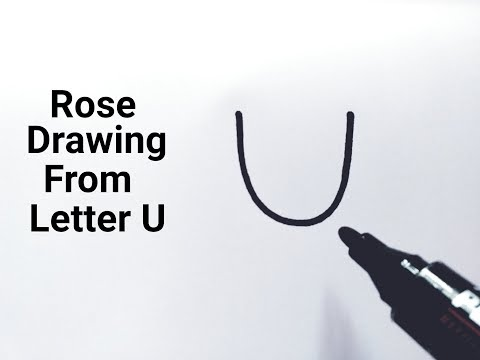 How to draw a rose flower easy from letter U drawing a rose flower step by step tutorial easy