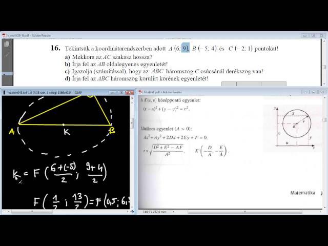 16/d Feladat - Körülírt kör egyenlete