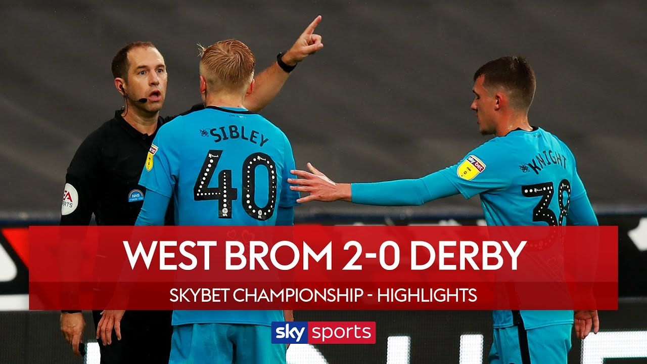 Baggies breeze past 10-man Derby | West Brom 2-0 Derby County | EFL Championship Highlights