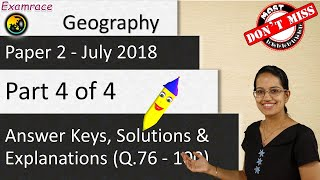 CBSE NET July 2018 Geography Paper 2 (Q.76-100): Answer Keys, Solutions & Explanations (Part 4 of 4)