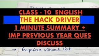 CLASS 10 English THE HACK DRIVER - 1 Minute Summary