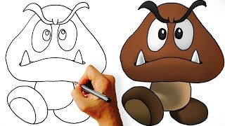 Pk How to Draw Goomba (Super Mario) Step by Step