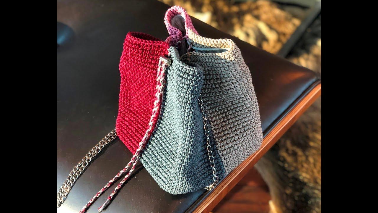Как связать крючком сумку торбу или трапецию. Часть 1