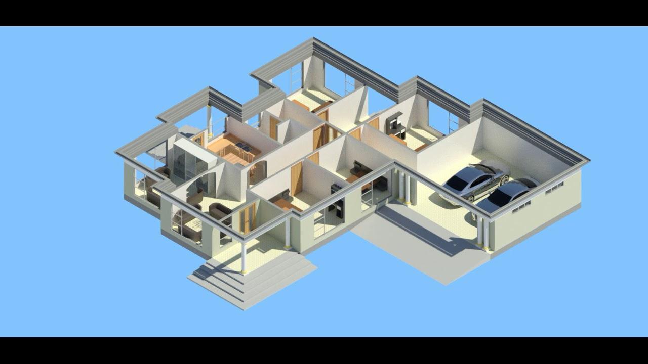 Four Bedrooms Modern House Plan Design