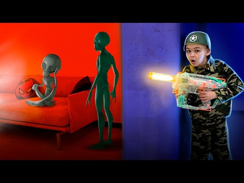 Dima pretend play soldier - Aliens in our house