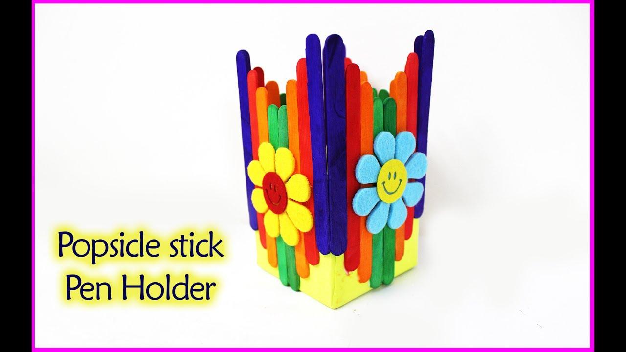 How To Make Pen Holder Popsicle Stick Crafts Pen Stand Flower