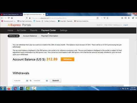 How to Withdraw from Aliexpress Portal Affiliate Account - Live Withdraw Example
