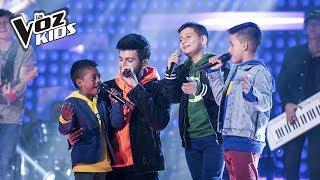Sebastin Yatra Robert David y Juanse cantaron Que Canten Los Nios  La Voz Kids Colombia 2018