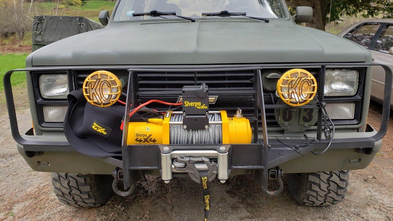 Adding a 24V, 17000 LB Australian Sherpa Winch to Restored 1984 M1009 CUCV  Military K5 Blazer