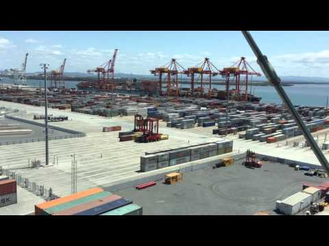 Robots and humans moving shipping containers at the Port of Brisbane