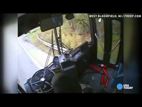 Bus crash caught on video after driver falls asleep