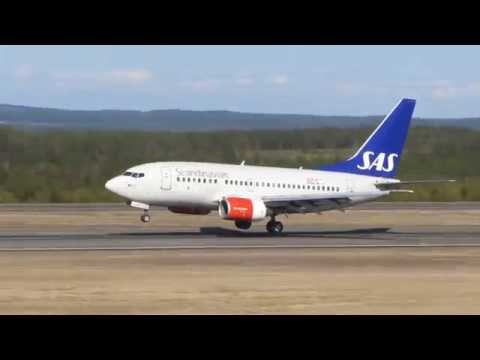 SAS Boeing 737-683 Östersund airport landing
