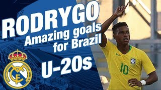 RODRYGO GOES amazing goals for Brazil U-20s