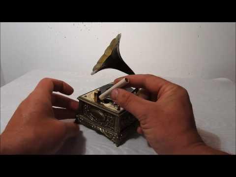 Restored Japanese Gramophone Music Box with Zippo Lighter - Profile