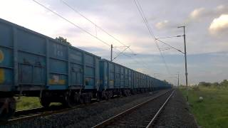 [Frieght] WAG7 Tatanagar twins rumbling with uniform blue load of coal wagons