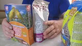 Распаковка и обзор кормов для птиц.