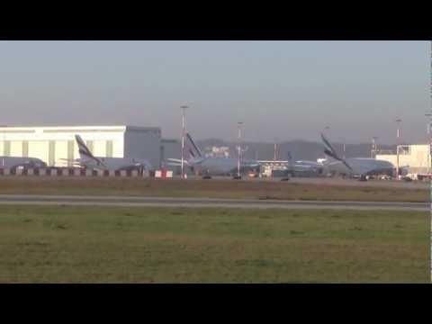 6 A380's parking (Air France, China Southern, Korean, Qantas, Emirates) in Hamburg