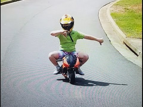 Kids first time on a pocket bike!? And some tricks