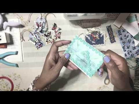 6. DIY MINI ENVELOPE TAG HOLDER - PenPal or Happy Mail Ideas : Using Dollar Tree Paper - Bag